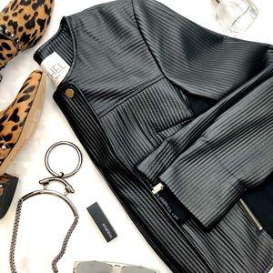 RACHEL Rachel Roy Jackets & Coats - Black Textured Faux Leather Mixed Media Jacket